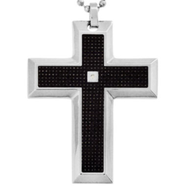 jcpenney.com | Mens Diamond-Accent Cross Pendant Necklace Stainless Steel