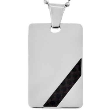 jcpenney.com | Men's Black Carbon Fiber Dog Tag Stainless Steel