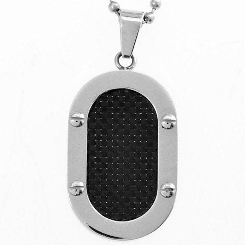 Men's Black Carbon Fiber Dog Tag Stainless Steel