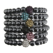 Hematite & Crystal Set of 6 Stretch Bead Bracelets