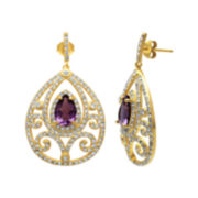 Alexandra Gem Lab-Created Pear-Shaped Amethyst & Crystal Teardrop Earrings