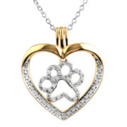 ASPCA® Tender Voices™ ¼ CT. T.W. Diamond Paw Print Heart Pendant Necklace