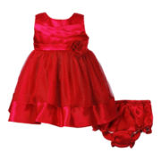 Youngland® Pleated Bodice Red Dress - Girls 3m-12m