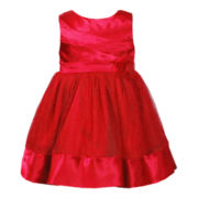 Youngland® Pleated Bodice Red Dress - Girls 12m-6y