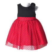 Pinky Dotted Tulle Dress - Girls 3m-12m