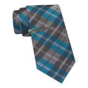 JF J. Ferrar® Glitter Plaid Tie and Tie Bar Set