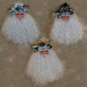 Set of 3 Flowing Glitter-Beard Santas