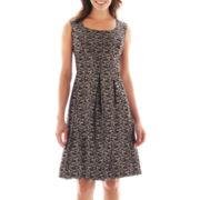 Black Label by Evan-Picone Cap-Sleeve Brocade Jacquard Dress