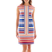 London Style Collection Cap-Sleeve Striped Shift Dress