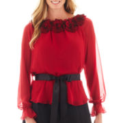 Simply Lilliana Long-Sleeve Rosette Blouse