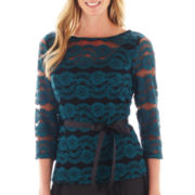Blu Sage 3/4-Sleeve Allover Lace Top