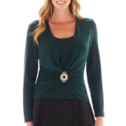 Blu Sage Long-Sleeve Glitter Top