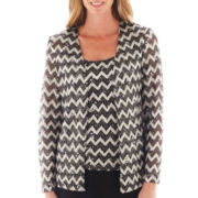 Blu Sage Long-Sleeve Chevron Print Jacket with Cami