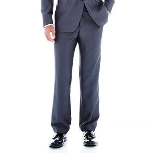 JF J. Ferrar® Grey Luster Flat-Front Suit Pants - Classic