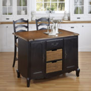 Beaumont Distressed Oak Kitchen Island and Counter-Height Barstool Collection
