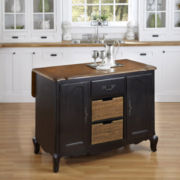 Beaumont Distressed Oak Kitchen Island with Wicker Baskets