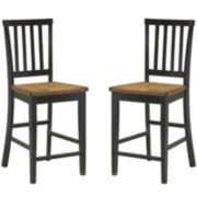 Callan Slat Set of 2 Counter- Height Dining Chairs