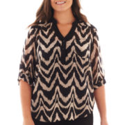 Alyx® 3/4-Sleeve Chevron Blouse - Plus