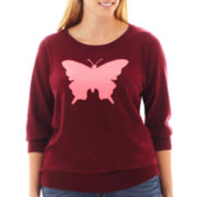 jcp™ 3/4-Sleeve Fine-Gauge Intarsia Sweater - Plus