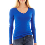 jcp™ Long-Sleeve V-Neck Tee