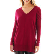 Worthington® Long-Sleeve V-Neck Tunic Sweater