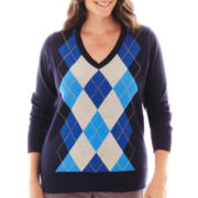 St. John's Bay® Long-Sleeve Argyle Sweater - Plus