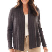 St. John's Bay® Long-Sleeve Flyaway Cardigan Sweater - Plus
