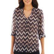 a.n.a® Long Rolled-Sleeve Mandarin Collar Woven Top - Petite