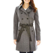 a.n.a® Double-Breasted Belted Wool-Blend Coat - Petite