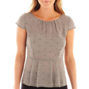 Worthington® Cap-Sleeve Peplum Blouse