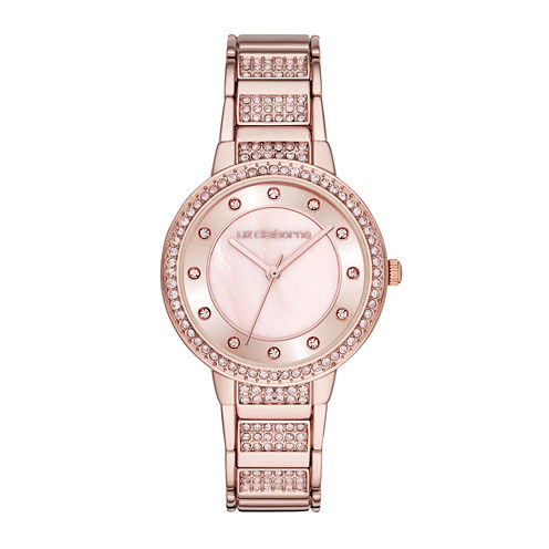 Liz Claiborne® Womens Crystal-Accent Rose-Tone Bracelet Watch