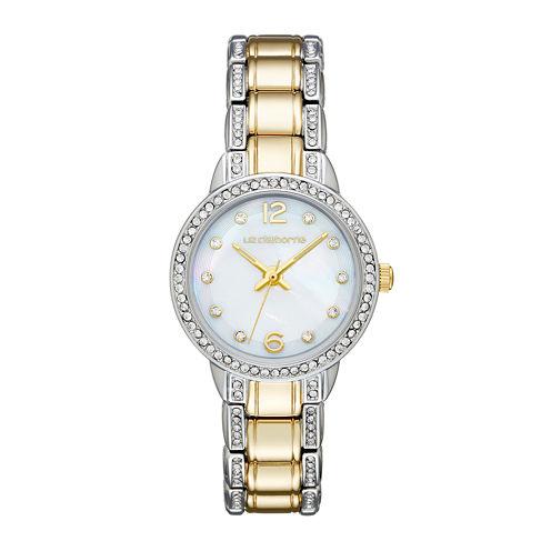 Liz Claiborne® Womens Crystal-Accent Two-Tone Bracelet Watch