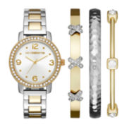 Liz Claiborne® Womens Crystal-Accent Two-Tone Bracelet Watch and Bangle Set