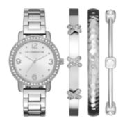 Liz Claiborne® Womens Crystal-Accent Silver-Tone Bracelet Watch and Bangle Set