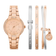 Liz Claiborne® Womens Crystal-Accent Bracelet Watch and Bangle Set