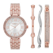 Liz Claiborne® Womens Crystal-Accent Rose-Tone Bracelet Watch and Bangle Set