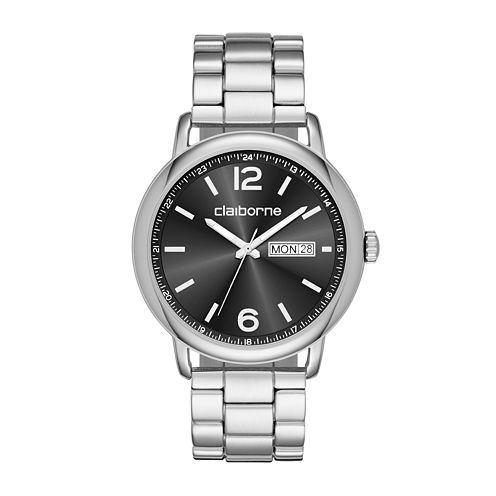 Claiborne® Mens Silver-Tone Strap Watch