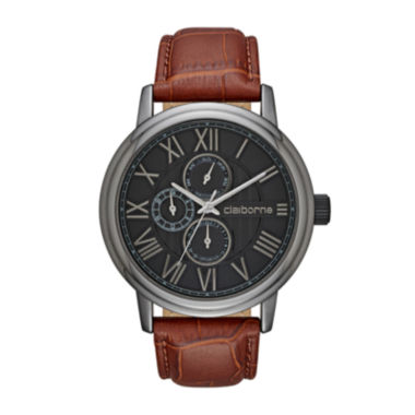 jcpenney.com | Claiborne® Mens Croc-Look Brown Leather Strap Watch