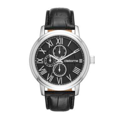 jcpenney.com | Claiborne® Mens Croc-Look Black Leather Strap Watch