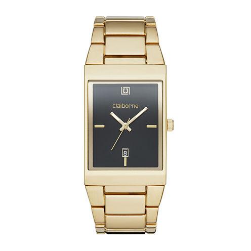 Claiborne® Mens Rectangular Gold-Tone Strap Watch