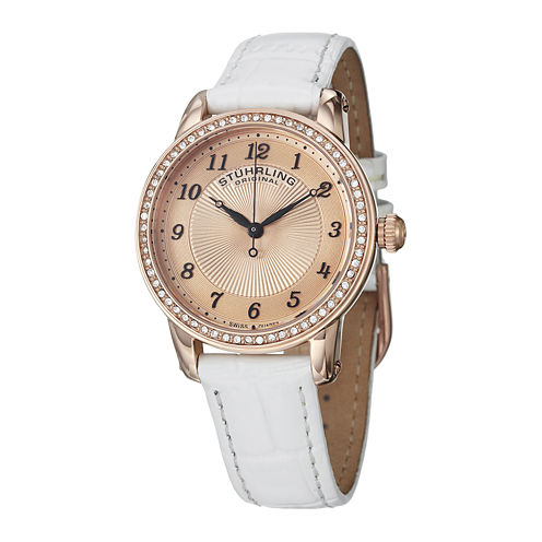 Stührling® Original Womens White Leather Strap Watch 5214.03