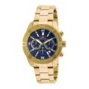 Invicta® Mens Blue Dial Gold-Tone Stainless Steel Chronograph Watch 21468