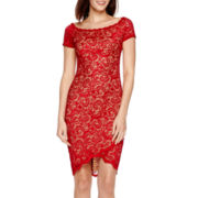 Bisou Bisou® Cap-Sleeve High-Low Lace Sheath Dress