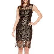 Bisou Bisou® Cap-Sleeve Metallic Lace Sheath Dress