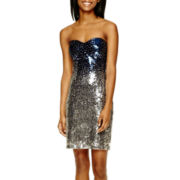 Bee Darlin Strapless Ombré Sequin Dress- Juniors