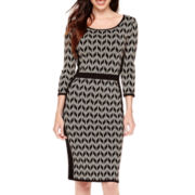 Danny & Nicole® 3/4-Sleeve Chevron Sweater Dress
