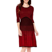 Danny & Nicole® 3/4-Sleeve Fit-and-Flare Sweater Dress