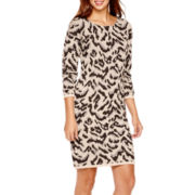 a.n.a® Long-Sleeve Animal Print Sweater Dress