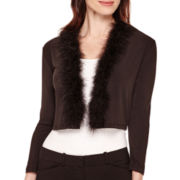 R&K Originals® Long-Sleeve Faux-Fur Trim Shrug