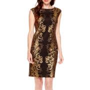 Studio 1® Sleeveless Foil Print Sheath Dress